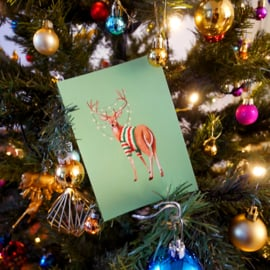 Christmas card deer with fairylights and christmas jumper