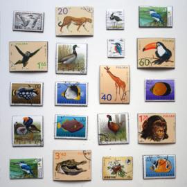 Magneten van vintage postzegels met dieren, per stuk