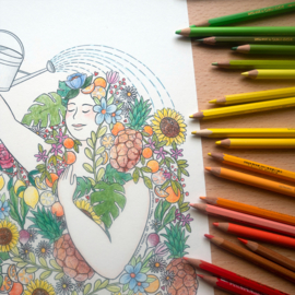 Selfcare kleurplaat met bloemen A4