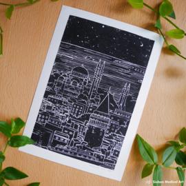 Istanbul skyline lino A4 art print zwart wit