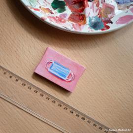 Tiny olieverf schildering 'Mondkapjes', olieverf op doek, 6x4 cm