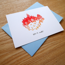 You're swell - handprinted greeting card