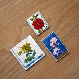 Handgemaakte postzegel koelkastmagneten, set S