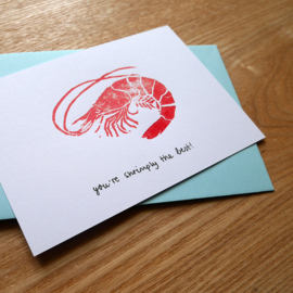 You're shrimply the best - handprinted greeting card with pun
