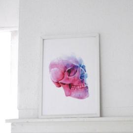 Pink skull A4 art print