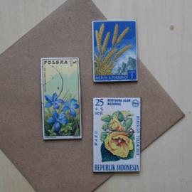 Handmade floral postage stamp magnets, set J