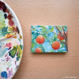 'sinaasappels aan tak' mini schilderij, olieverf op doek, 8x6 cm
