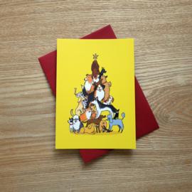 Christmas card christmas tree of dogs - warm yellow