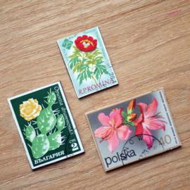Handmade floral postage stamp magnets, set U