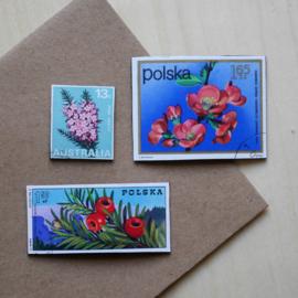 Handgemaakte postzegel koelkastmagneten, set D
