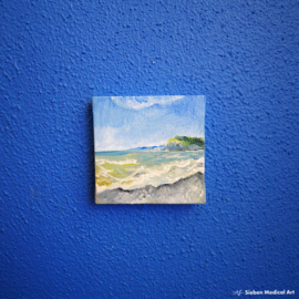 Olieverf schildering van de kust van Normandië, olieverf op doek, 7x7 cm