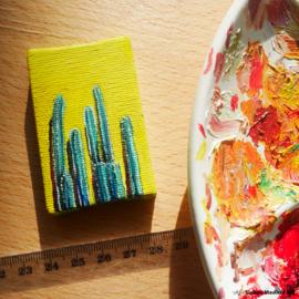 Vrolijke cactus mini schildering, 4x6 cm