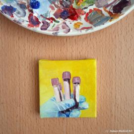 Bloedafname olieverfschildering olieverf op doek, 7x7 cm