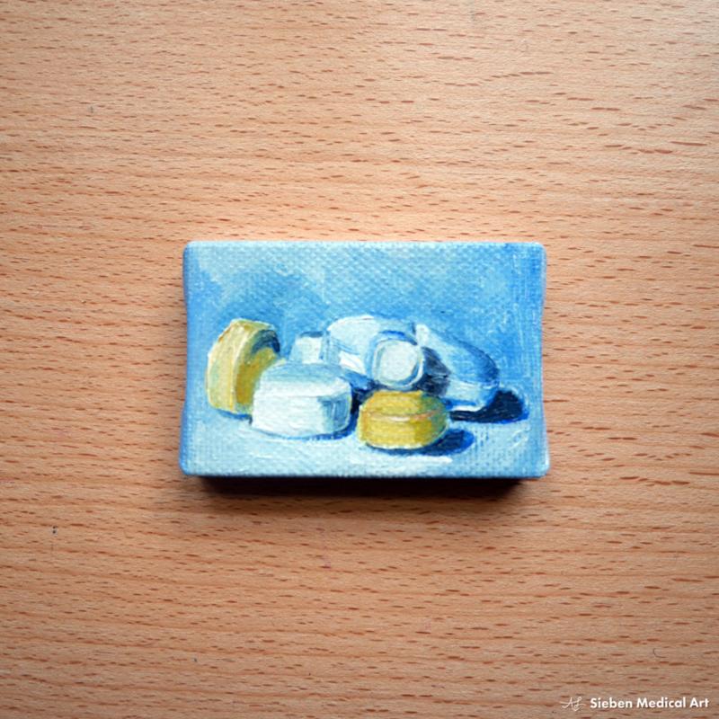 Tiny olieverf schildering 'Medicatie stilleven' olieverf op doek, 6x4 cm