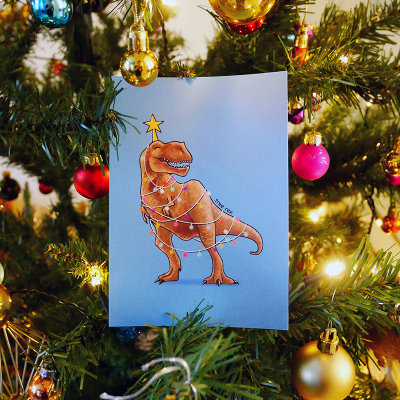 Christmas card Tree rex with pun!