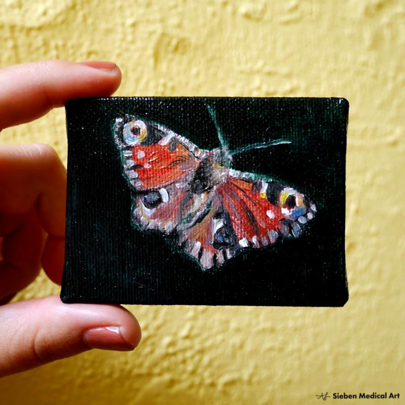 Dagpauwoog mini olieverf schildering