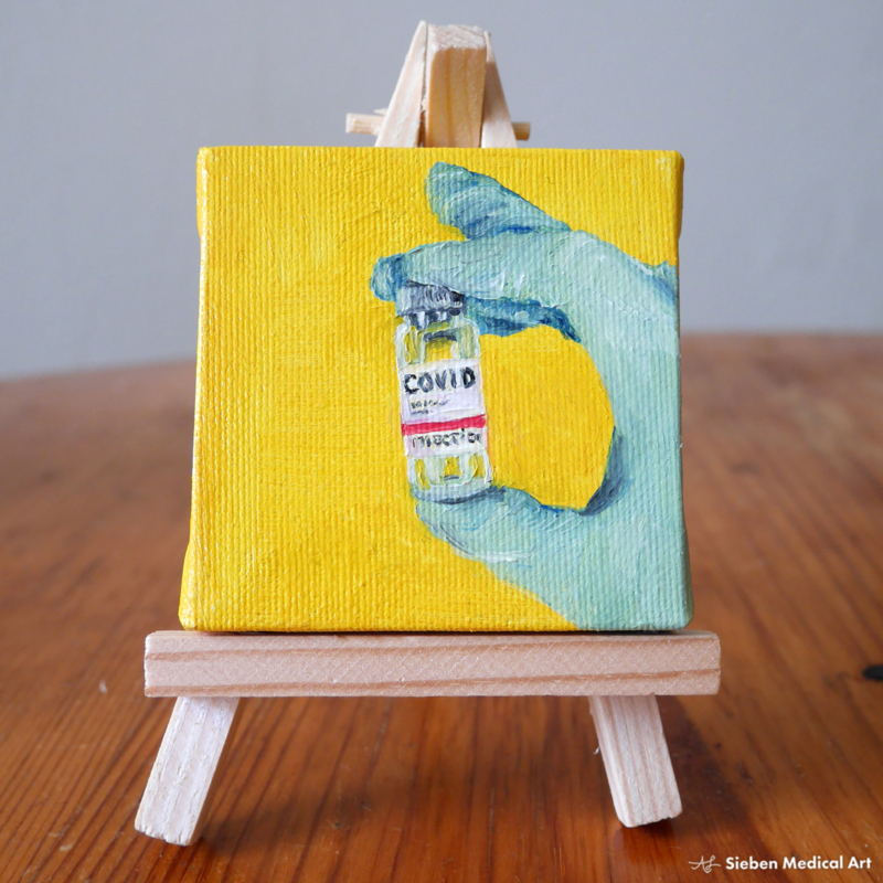 Tiny painting 'COVID-19 vaccine', oil on canvas, 7x7 cm