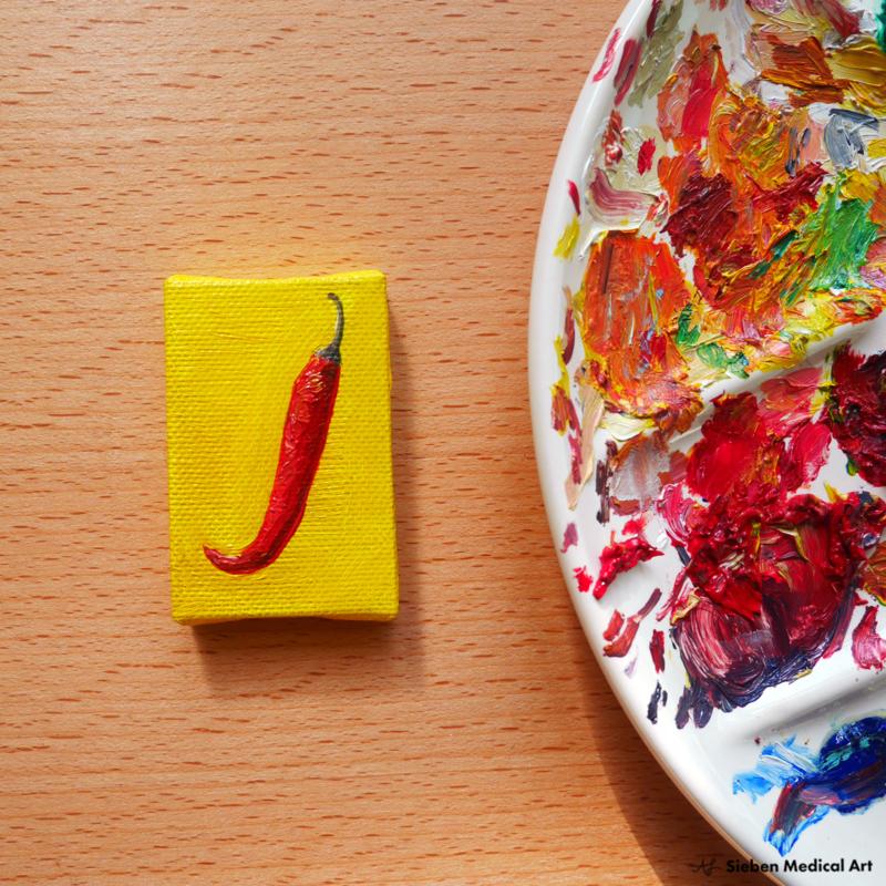 Rode peper mini schildering, olieverf op canvas, 4x6 cm