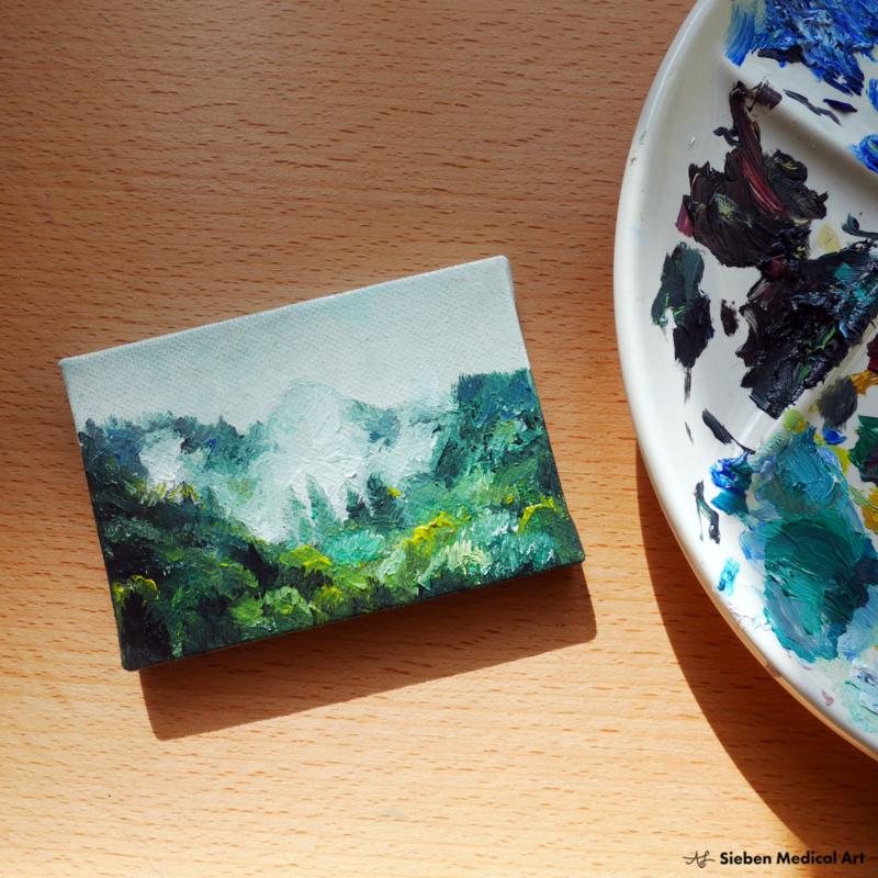 'Misty mountains' mini olieverf schildering op doek, 10x7 cm