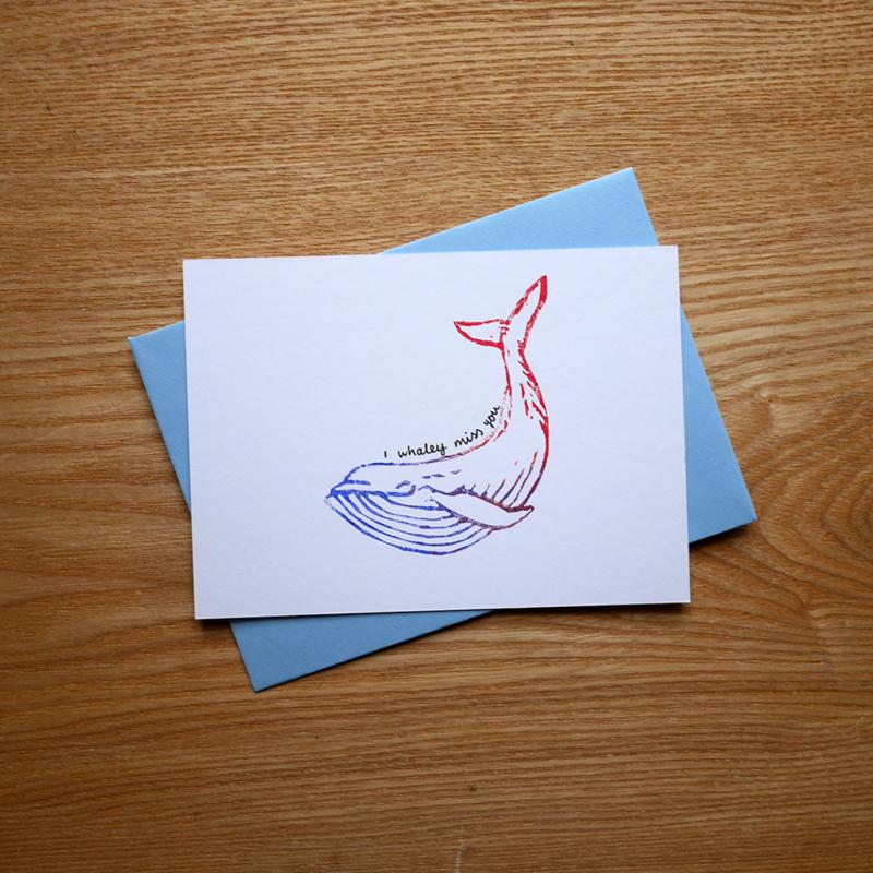 I whaley miss you - hand gedrukte wenskaart