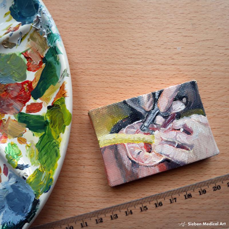 Tiny painting 'Bij de tandarts', olieverf op doek, 7x5 cm