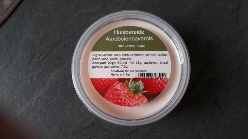 Huisbereide aardbeienbavarois 115gr