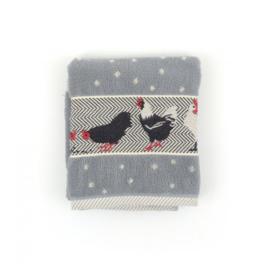 Set Handdoek en theedoek Chickens Grey