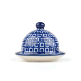 Butter Dish Round small Blue Diamond