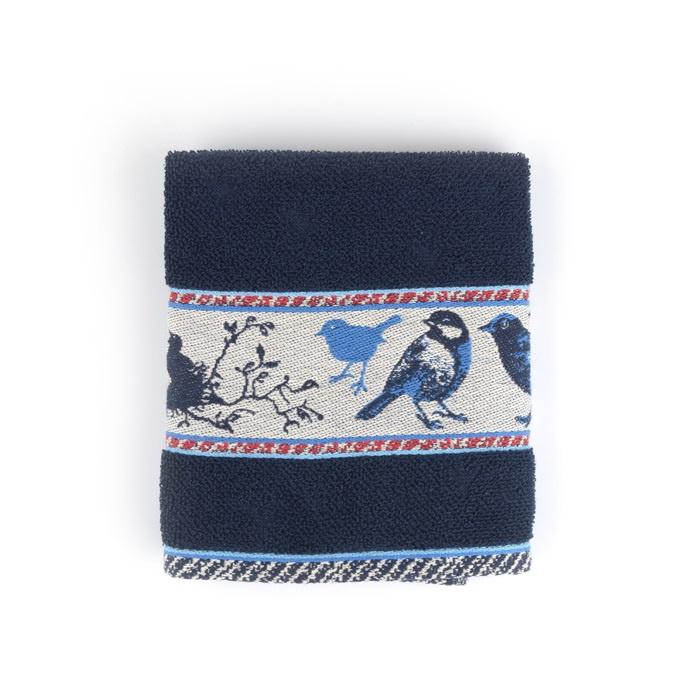Set Handdoek en theedoek Birds Dark Blue