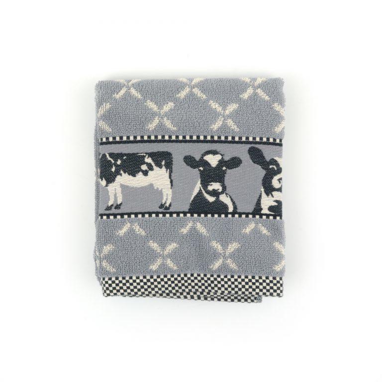 Set Handdoek en theedoek Cows Grey