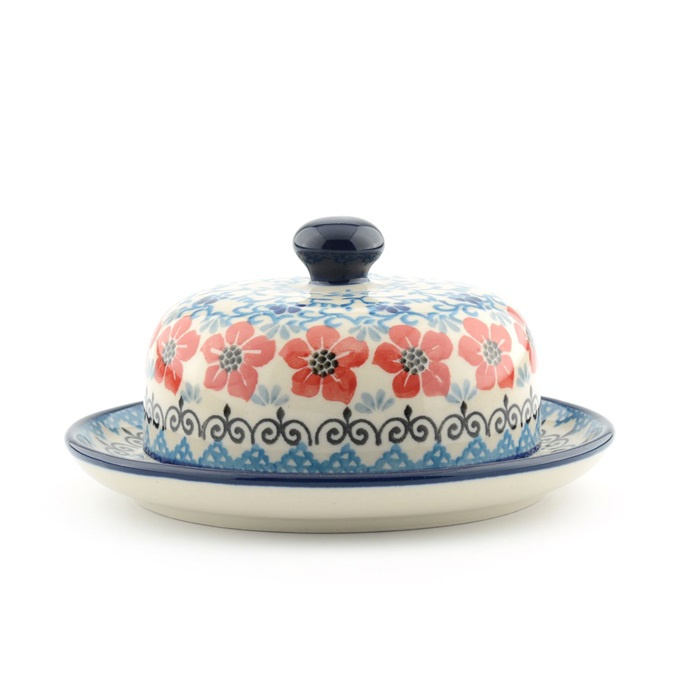 Butter Dish Round Red Violets