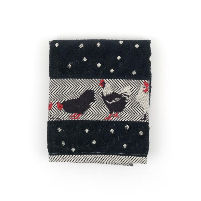 Set Handdoek en theedoek Chickens Black