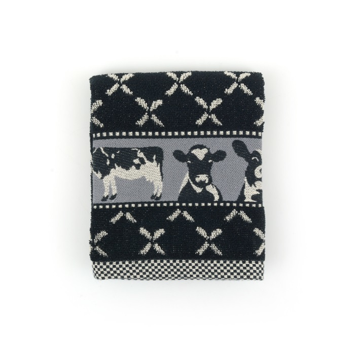Set Handdoek en theedoek Cows Black