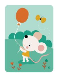 Ansichtkaart | Muis met ballon