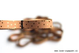 Krullint |  Dots gold (pink) - 5 m