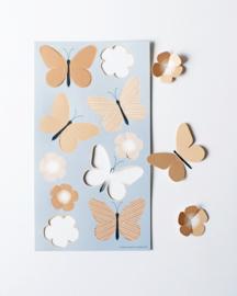 Cadeaulabels | Vlinders en bloemen vel