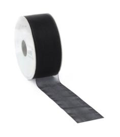 Organza lint |  Zwart - per meter