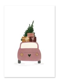 Ansichtkaart | Kerstboom op auto
