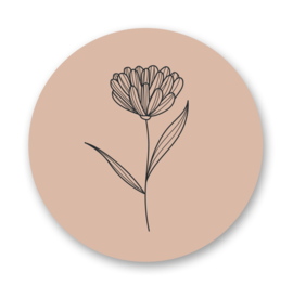 Stickers | Flower nude - 5 stuks