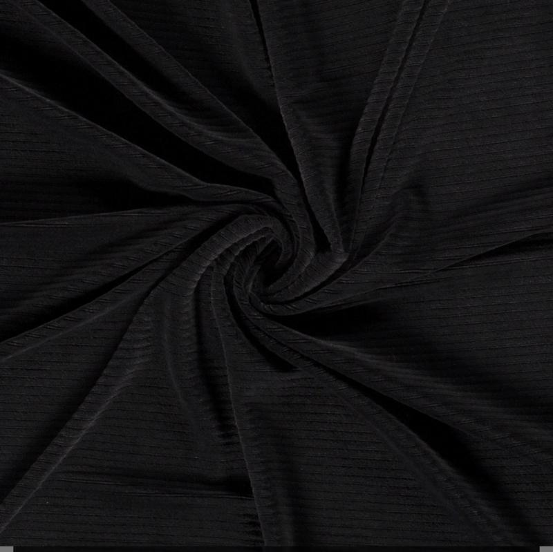 Mini flared rib velvet zwart