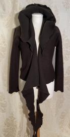 Short wrap top with hoodie made of sturdy dark brown wool
