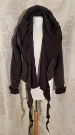 Wool wrap top with hoodie lined brown