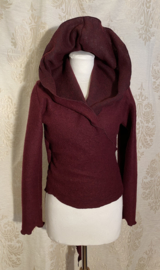 Short wrap top with hoodie made of sturdy burgundy wool