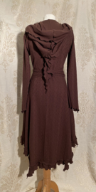 Beautiful knitted wrap dress with a brown pointed hat