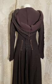 Wollen winterjas donkerbruin gevoerd