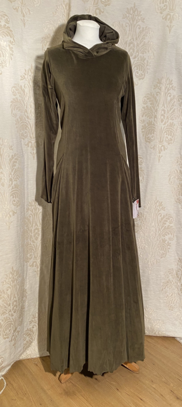 Zachte jurk met hoodie nikkievelour mosgroen