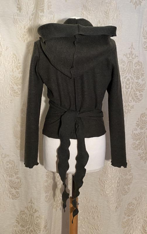 Kort wikkeltopje met hoodie van stevige wol mosgroen