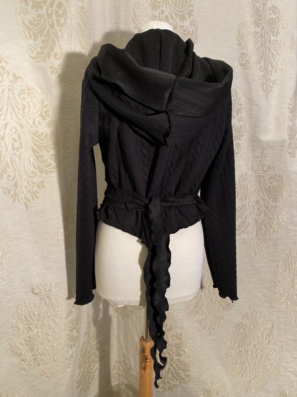 Warme wikkeltop met hoodie kabelprint