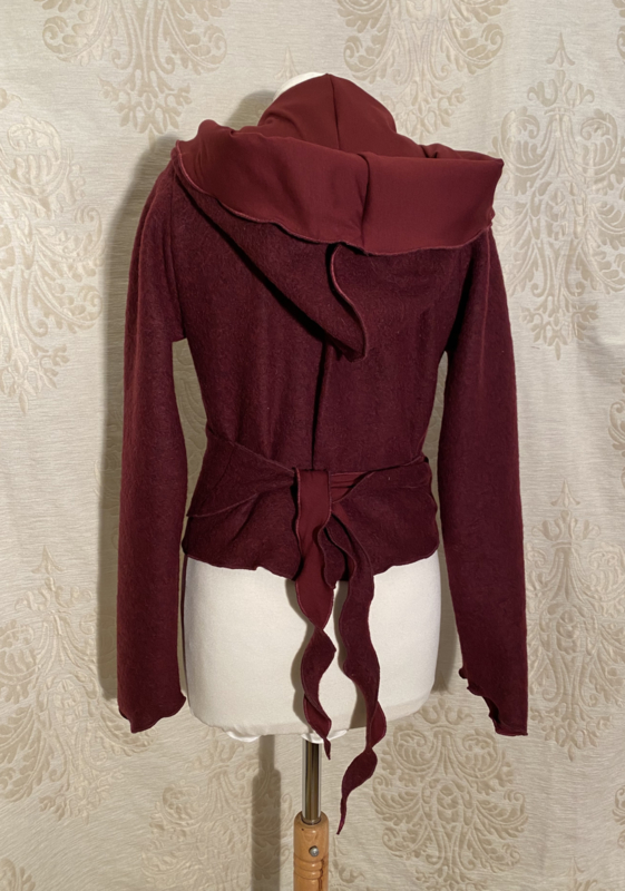 Wool wrap top with hoodie lined burgundy