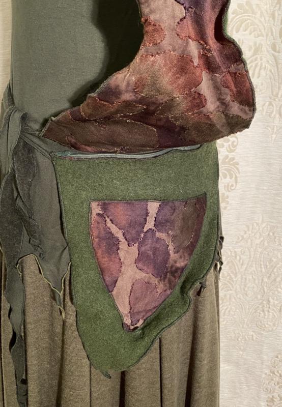 Waist bag green wool